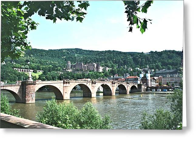 Heidelberg Schloss Overlooking The Neckar Greeting Card by Gordon Elwell