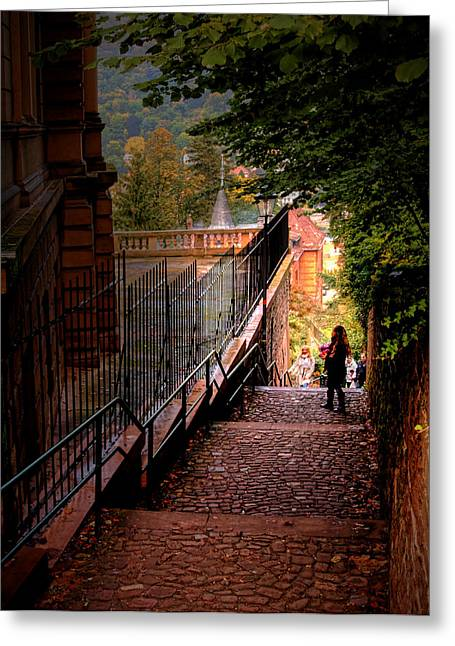 Greeting Card featuring the photograph Heidelberg Stairway by Jim Hill