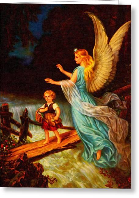 Heiliger Schutzengel  Guardian Angel 11 Oil Greeting Card by MotionAge Designs