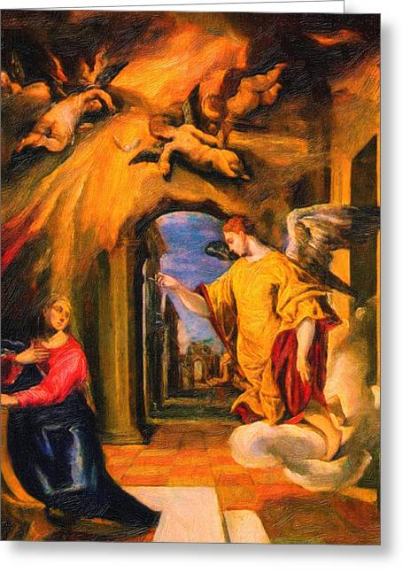 Heiliger Schutzengel  Guardian Angel 2 Greeting Card by MotionAge Designs