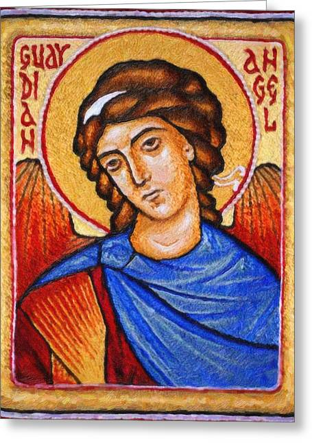 Heiliger Schutzengel  Guardian Angel 5 Enhanced Greeting Card by MotionAge Designs