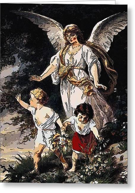 Heiliger Schutzengel  Guardian Angel 6 Lines Greeting Card by MotionAge Designs