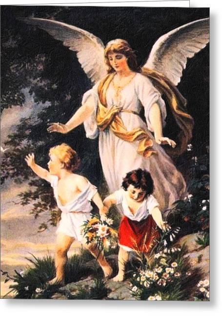 Heiliger Schutzengel  Guardian Angel 6 Pastel Greeting Card by MotionAge Designs