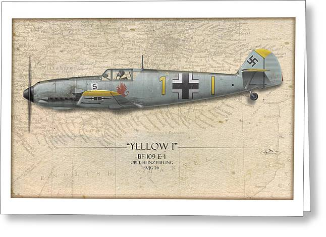 Heinz Ebeling Messerschmitt Bf-109 - Map Background Greeting Card by Craig Tinder