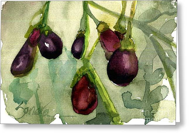 Heirloom Eggplant Greeting Card by Sandra Stone