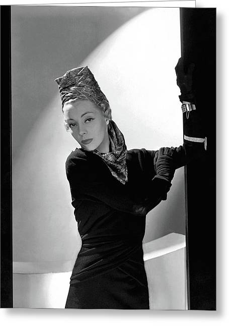 Helen Bennett Wearing A Balenciaga Dress Greeting Card by Horst P. Horst
