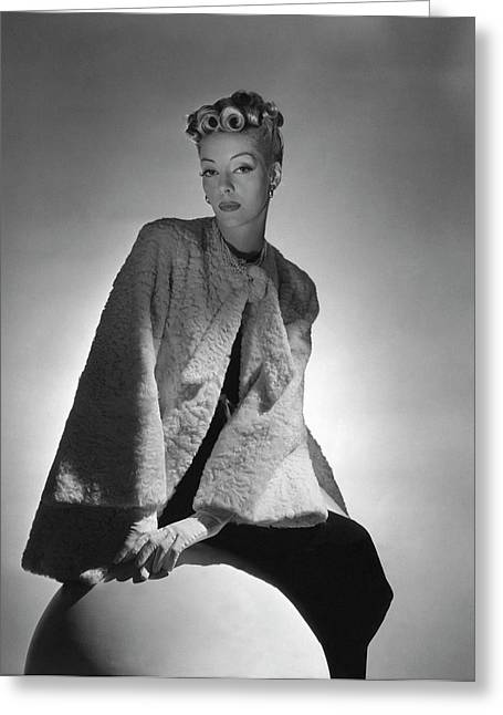 Helen Bennett Wearing A Coat And Gloves Greeting Card by Horst P. Horst