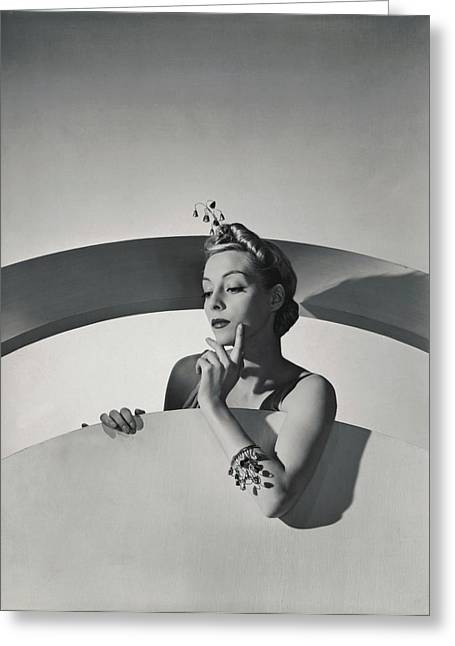 Helen Bennett Wearing Mainbocher Jewelry Greeting Card by Horst P. Horst