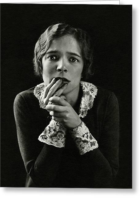 Helen Hayes Wearing Lace Cuffs Greeting Card by Edward Steichen