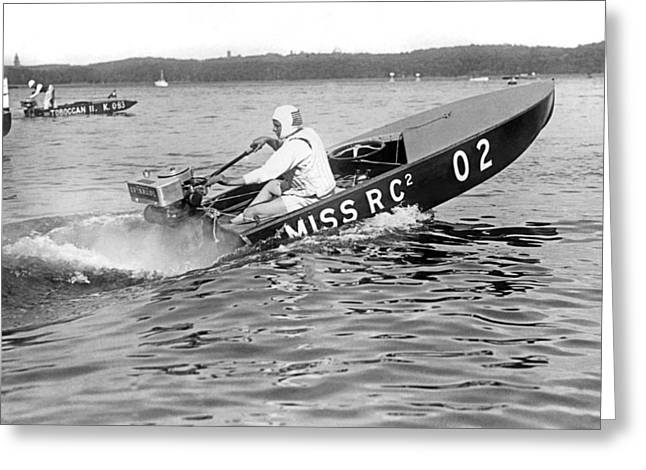 Helen Hentshel Of New York Wins The Class B Outboard Races Greeting Card by Underwood Archives