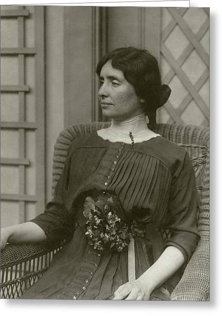 Helen Keller In A Rattan Chair Greeting Card by George Grantham Bain