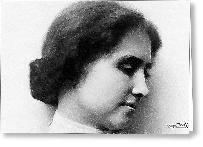 Greeting Card featuring the drawing Helen Keller by Wayne Pascall