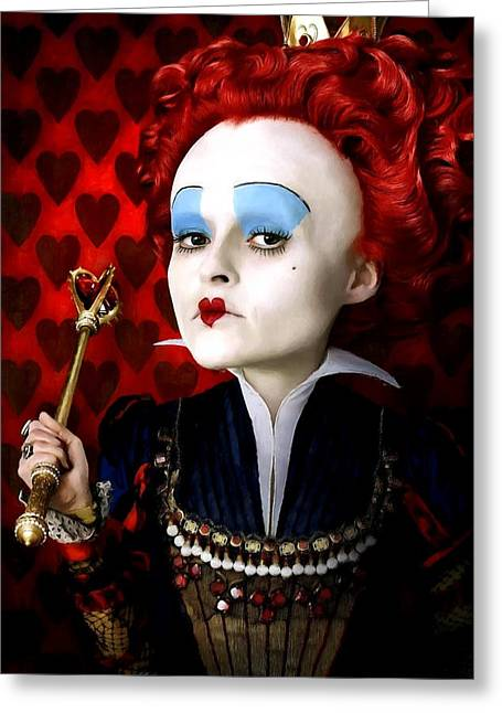 Helena Bonham Carter As The Red Queen In The Film Alice In Wonderland Greeting Card