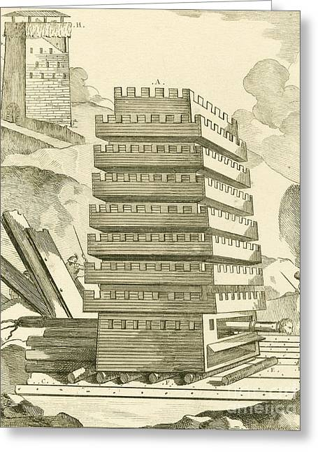 Helepolis Siege Tower, 305 Bc Greeting Card by Mid-manhattan Library