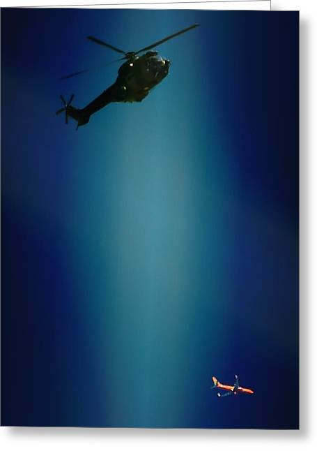 Helicopter Blues Greeting Card by Paul Job