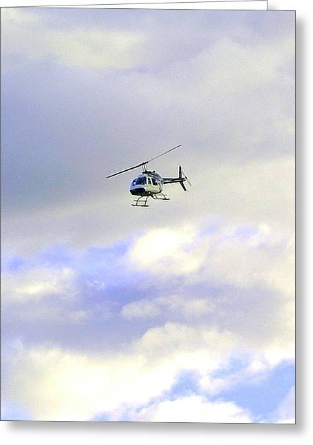 Helicopter Greeting Card by Mavis Reid Nugent