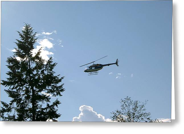 Helicopter Misses Tree Greeting Card by Mavis Reid Nugent