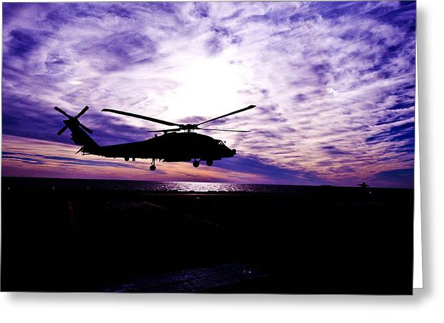 Helicopter Silhouette At Sunset Greeting Card by Mountain Dreams