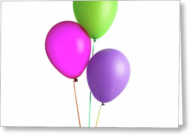 Helium-filled Balloons Greeting Card by Science Photo Library