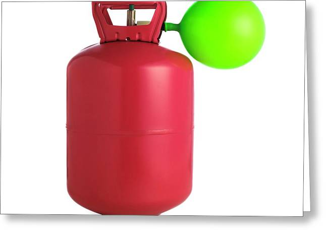 Helium Gas Cylinder And Balloon Greeting Card by Science Photo Library