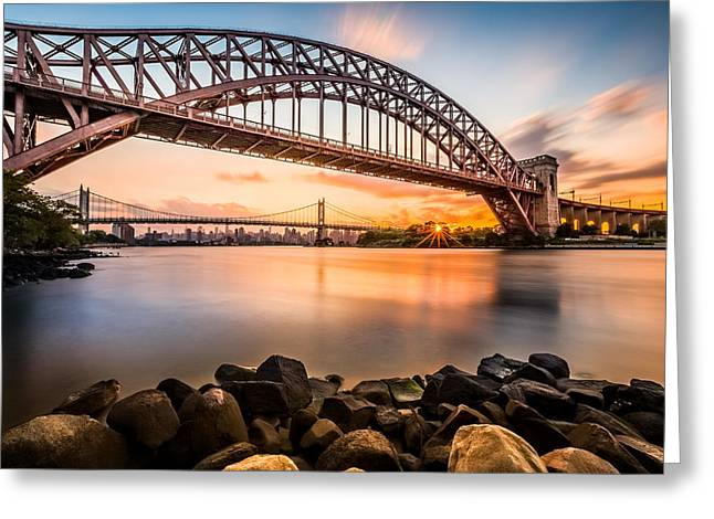 Hell Gate And Triboro Bridge At Sunset Greeting Card