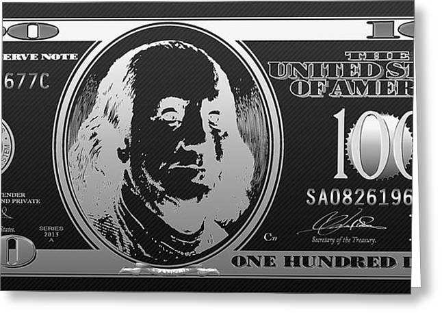 Hello Benjamin - Silver One Hundred Dollar Us Bill On Black Greeting Card by Serge Averbukh