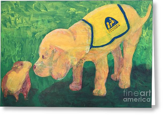 Greeting Card featuring the painting Hello - Cci Puppy Series by Donald J Ryker III