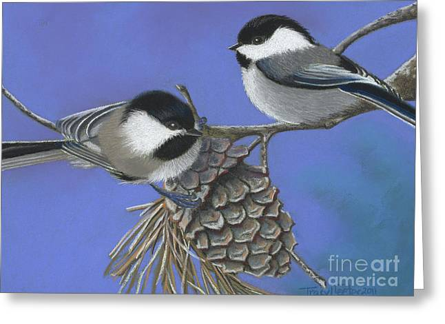 Hello Chickadees Greeting Card by Tracy L Teeter