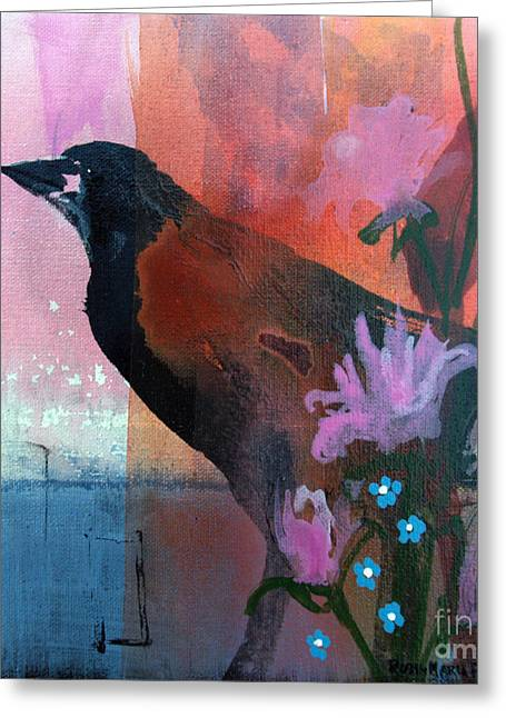 Hello Crow Greeting Card by Robin Maria Pedrero
