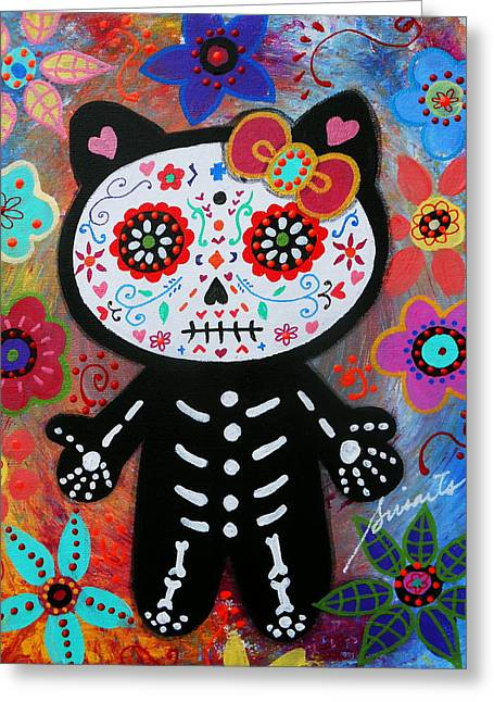 Hello Kitty Dia De Los Muertos Greeting Card