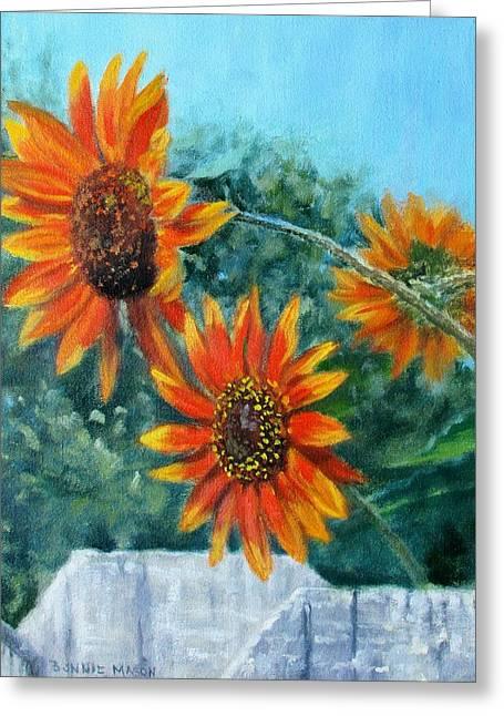 Hello Neighbor-sunflowers Over The Fence Greeting Card by Bonnie Mason