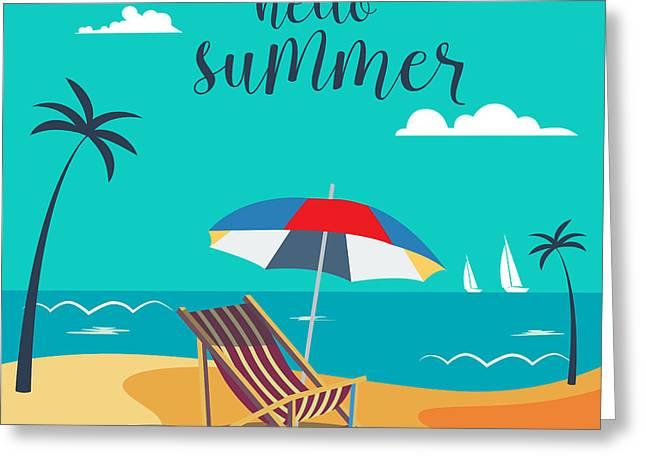 Hello Summer Poster. Tropical Beach Greeting Card