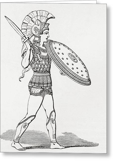 Helmeted Greek Warrior Wearing Greaves And Armour Holding A Clipeus Shield And Sword. From The Greeting Card