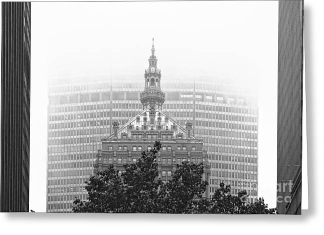 Helmsley Building And Metlife Building In Fog Greeting Card by Nishanth Gopinathan