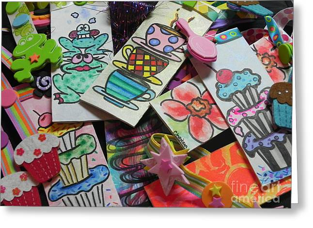 Help Children Read With Book Marks Hand Painted Two Greeting Card