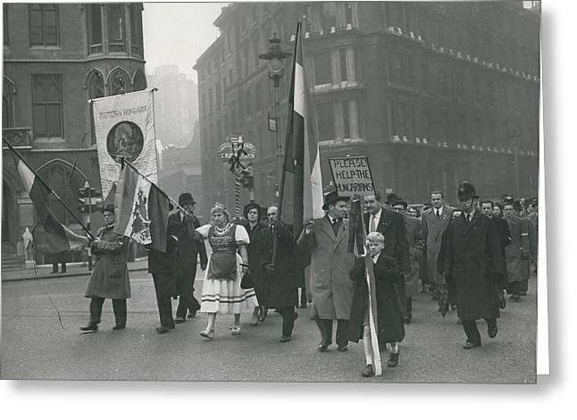 �help Hungary� Parade In Streets Of London Greeting Card by Retro Images Archive