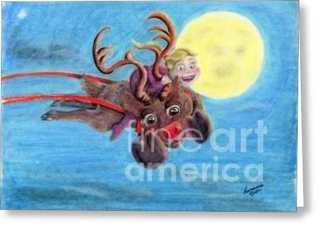 Helping Santa Greeting Card by Laurianna Taylor