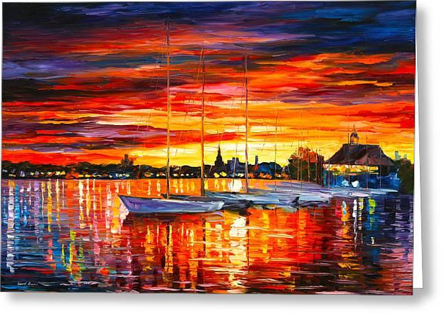 Helsinki Sailboats At Yacht Club Greeting Card by Leonid Afremov