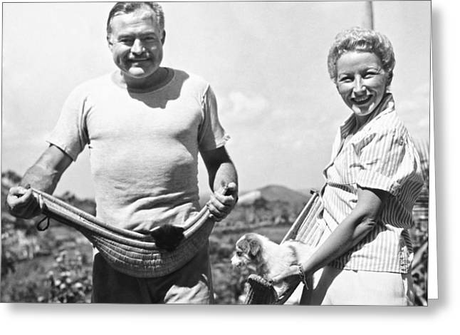 Hemingway, Wife And Pets Greeting Card by Underwood Archives