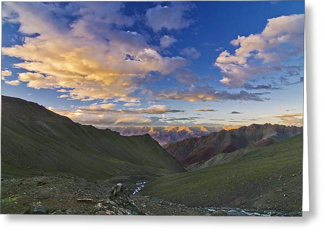 Hemis Sunset Greeting Card by Aaron Bedell