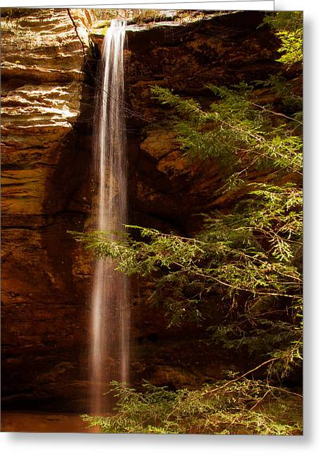 Greeting Card featuring the photograph Hemlocks And Waterfall by Haren Images- Kriss Haren