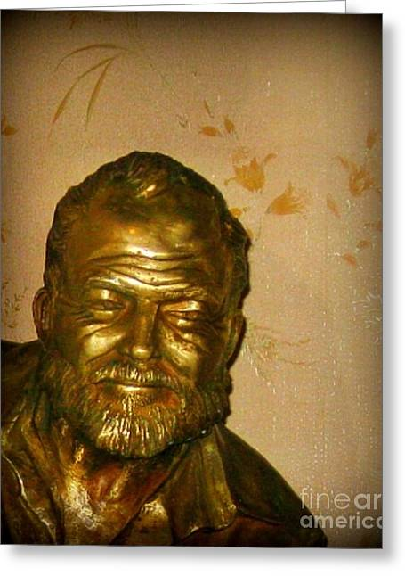 Hemmingway In Havana Greeting Card by John Malone
