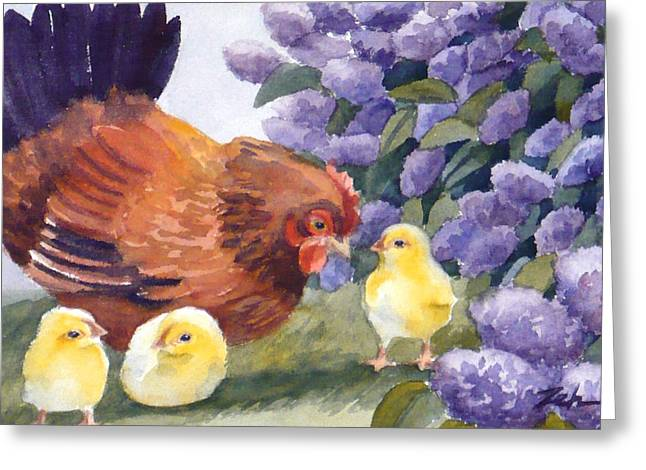 Hen And Chicks Among The Lilacs Greeting Card