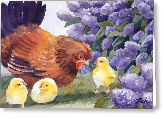 Hen And Chicks Chicken Art Greeting Card by Janet  Zeh