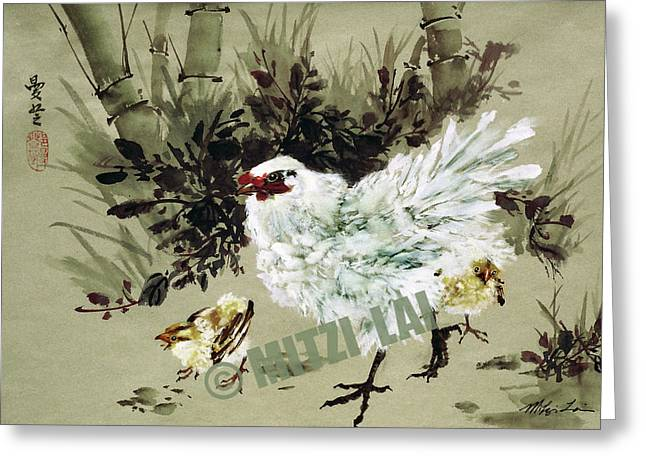 Hen And Chicks Greeting Card by Mitzi Lai