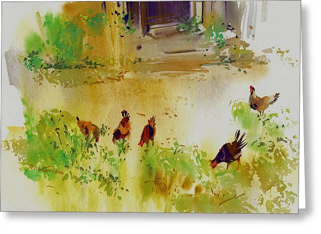 Hen Pecked Greeting Card