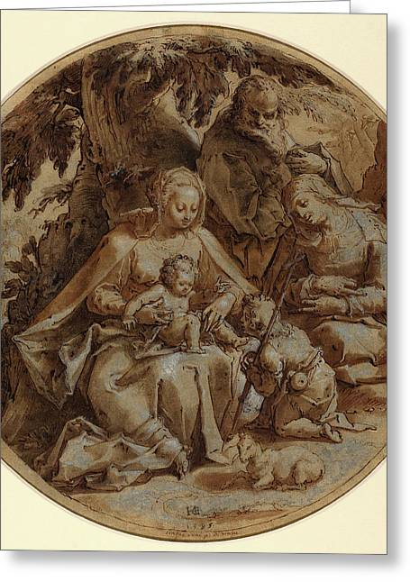 Hendrik Goltzius, Dutch 1558-1617, The Holy Family Greeting Card by Litz Collection