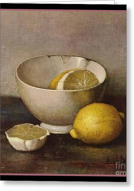 Henk Bos Fruits Still Life Lemons With White Bowl Greeting Card by Pierpont Bay Archives
