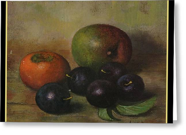Henk Bos Fruits Still Life Plums  Greeting Card by Pierpont Bay Archives