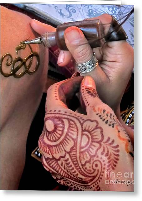 Greeting Card featuring the photograph Henna Hands At Work by Jennie Breeze